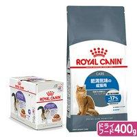 ロイヤルカナン 猫 肥満気味の成猫用 ドライ400g×1袋 ジップ無し + 適正体重に配慮 パウチ85g×12袋