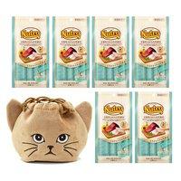 猫巾着おまけ付 ニュートロ とろけるツナ&白身魚 4本入り×6袋