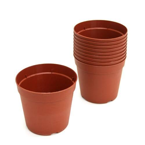 プラポット 9cm 茶 穴ありタイプ 10個セット