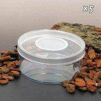 ディッシュボトル 丸型小(直径100×40mm) 穴あき フィルター付き 5個 プラケース 虫かご 観察 飼育容器