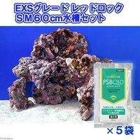 ライブロック EXSグレード レッドロック 60cm水槽セット(1セット)(形状お任せ)+PSBQ10 海水用 150ml