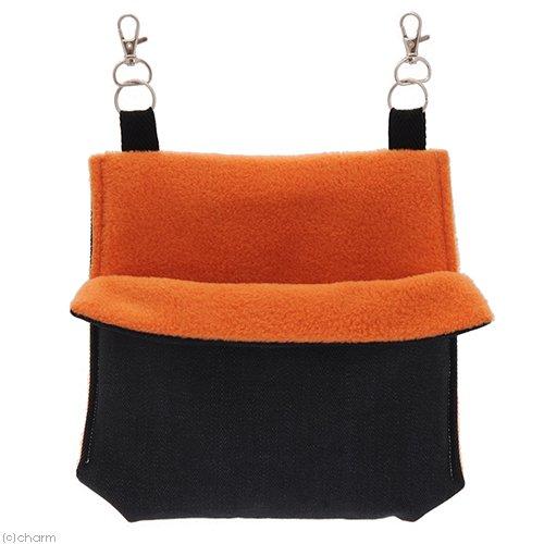 小動物の寝袋【デニム&フリース】M オレンジ ハンドメイド