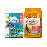 AllWell 室内猫用 フィッシュ味 挽き小魚とささみフリーズドライパウダー入り 1.6kg + マナーウェア Sサイズ