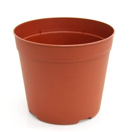 プラポット 18cm 茶 穴ありタイプ