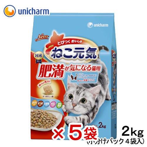 箱売り ねこ元気 肥満が気になる猫用 2.0kg キャットフード ねこ元気 1箱5袋入り