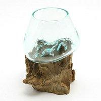 一点物 ラウンドガラス ノーマルXS 流木スタンド付(861532)コケ テラリウム ガラス インテリア 瓶