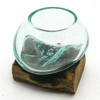 一点物 ラウンドガラス ノーマルXS 流木スタンド付(861297)コケ テラリウム ガラス インテリア 瓶