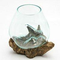 一点物 ラウンドガラス ノーマルS 流木スタンド付(861537)コケ テラリウム ガラス インテリア 瓶