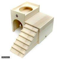 マルカン うさちゃんの2階でごはん うさぎ チンチラ モルモット 小動物用ハウス 食器台