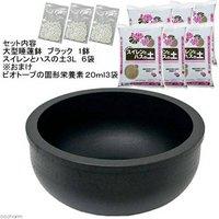大型睡蓮鉢超軽量タイプ(約1kg)ブラック+水生植物専用培養土セット(おまけ付)