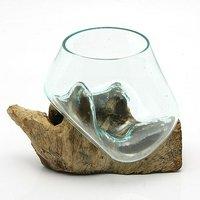 一点物 ラウンドガラス ノーマルS 流木スタンド付(861166)コケ テラリウム ガラス インテリア 瓶
