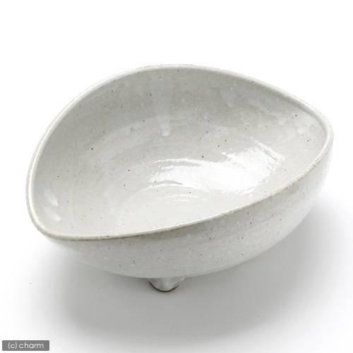 益子焼 足付楕円鉢 白マット 盆栽鉢