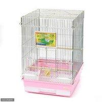 HOEI 35手のり 銀色メッキ (370×415×545) 底色:ピンク 鳥 ケージ 鳥かご