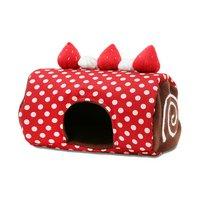 小動物のロールケーキハウス 赤ドット ハンドメイド バレンタイン モルモット ハリネズミ デグー チンチラ