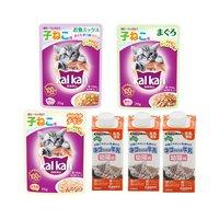 離乳期の猫用セット キャティーマン ネコちゃんの牛乳 幼猫用 200ml 4個 + カルカンパウチ3種各8袋