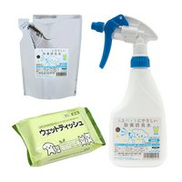 そのまま使える次亜塩素酸 人とペットにやさしい除菌消臭水 SCボトル500ml(色おまかせ)+詰替400mlウェットティッシュセット
