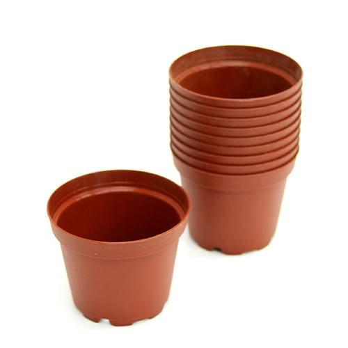 プラポット 6cm 茶 穴ありタイプ 10個セット