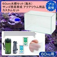 60cm水槽セット サンゴ簡易育成カスタム 海水アクアリウム用品(水槽LEDライト&他6点)プロ推奨セット 60Hz