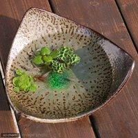 アウトレット品 益子焼 足付三角鉢 灰釉 ミニミニ盆栽鉢 訳あり