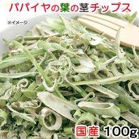 国産 パパイヤの葉の茎チップス 100g 小動物のおやつ ドライ野菜 うさぎ ハムスター