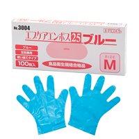 ポリ手袋 ブルー M エブケアエンボス25 100枚入 使い捨て手袋 食品衛生法適合品