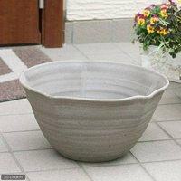 国産 手作り睡蓮鉢 益子焼 彩(SAI) 星型 焼締め 直径約38cm ビオトープ