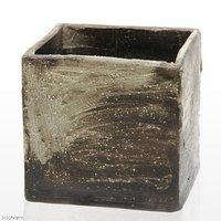 手作り山野草鉢 益子焼 彩(SAI) 角 粗目 白 鉢底穴あり 18×18×18cm 盆栽鉢