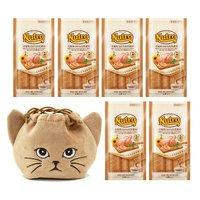 猫巾着おまけ付 ニュートロ とろけるチキン&ビーフレバー 4本入り×6袋