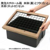 発泡スチロール箱 本体(黒)とフタ(白)と木枠(ネット付)セット 木枠 フタ セット
