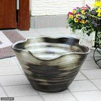 アウトレット品 国産 手作り睡蓮鉢 益子焼 彩(SAI) 花型 炭化 直径約38cm ビオトープ 訳あり