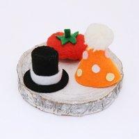 小さな帽子セット【シルクハットトマトベレー帽パーティ帽】ハンドメイド