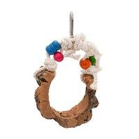鳥のためのゆらゆら天然コルクブランコ 小さめサイズ ハンドメイド 色おまかせ バードトイ おもちゃ