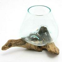 一点物 ラウンドガラス ノーマルS 流木スタンド付(861538)コケ テラリウム ガラス インテリア 瓶