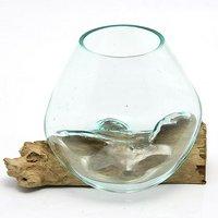 一点物 ラウンドガラス ノーマルM 流木スタンド付(861279)コケ テラリウム ガラス インテリア 瓶