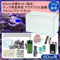 60cm水槽セット サンゴ簡易育成フルコンプリート 海水アクアリウム(水槽&他13点)プロ推奨セット 60Hz西日本用