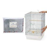 HOEI 35手のり 銀色メッキ(底色:ホワイト)+抗菌帯電防止鳥ケージカバーセット(370×415×545)