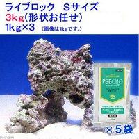 ライブロック Sサイズ(3kg)(形状お任せ)+PSBQ10 海水用 150ml