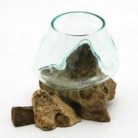 一点物 ラウンドガラス ノーマルXS 流木スタンド付(861308)コケ テラリウム ガラス インテリア 瓶