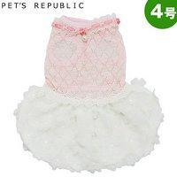 PET'S REPUBLIC 花シフォンバルーンワンピ 4号 ピンク