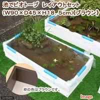 (めだか)池でビオトープ レイアウトセット(W90×D45×H18.5cm) ブラウン